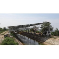 Solar panel on canal construction